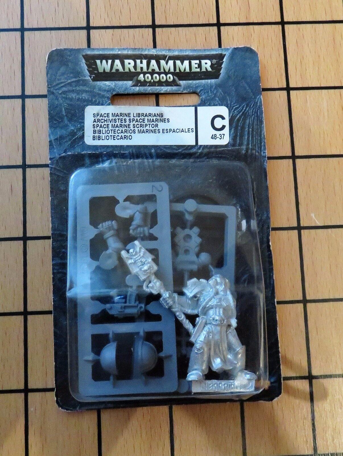 40k Rare oop Blister Blister Blister Vintage Metal Space Marine Librarian w  Force Staff NIB 2 76fe40