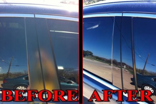 Black Pillar Posts for Honda CRV 07-11 6pc Set Door Trim Piano Cover Window