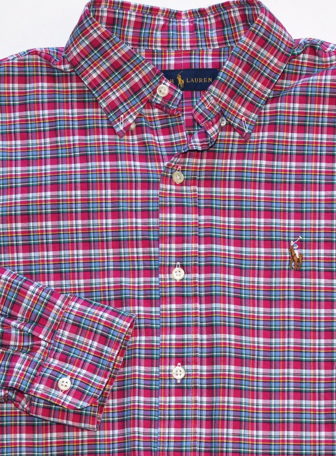 New Ralph Lauren Long Sleeve Magenta   bluee Plaid Cotton Oxford Shirt   XLT