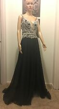 mac duggal Pageant Size 6 New With TAGS Black And Silver Beading Prom, Evening,