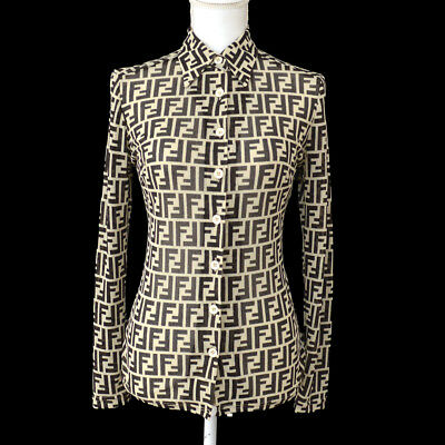 f425525a Authentic FENDI Vintage Zucca Pattern Long Sleeve Shirt Tops Brown Italy  AK28705   eBay