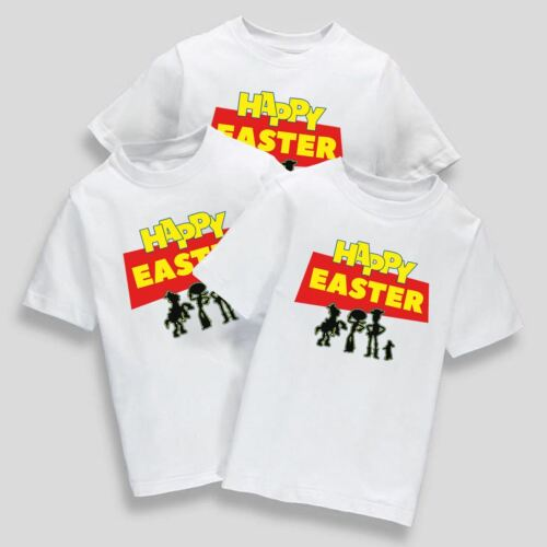 Childrens Kids Happy Easter Day T-Shirt School Event Bunny Eat Eggs Cartoon Tee