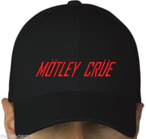 Motley Flood Black Cap Crochet Et Boucle De Fermeture Hard rock glam Heavy Metal Hat