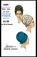 Turban Hat Cap Sewing Pattern 6606 Vogue Cancer Chemo Designer Halston Alopecia