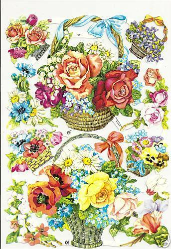1 Bogen Glanzbilder Poesie Blumenkörbe Glimmer ef 7111 Nr.89