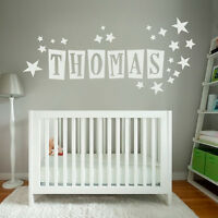 Custom Text/Name Vinyl Wall/Door Sticker, Children/Kids and Stars Fonts&Colours