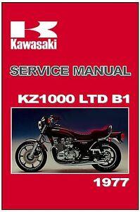 kawasaki workshop manual kz1000 ltd kz1000ltd 1977 b1 maintenance rh m ebay com 1977 Kawasaki KZ1000 Custom 1976 Kawasaki KZ1000