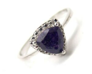 Sapphire-Sterling-Silver-Ring-Diamonds-Trillion-1-01-carats-Size-7-5