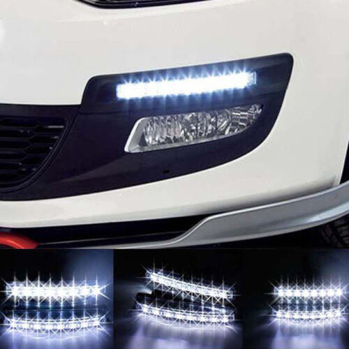 2PCS 12V 6 LED Daytime Running Light DRL Car Fog Day Driving Lamp Lights Kit SS