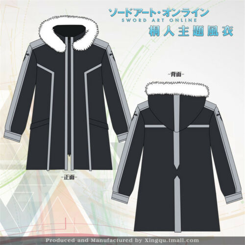 New animation Sword Art Online SAO Kirito Windbreaker COS Sweat à capuche manteau chaud