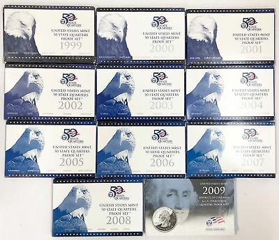 1999-2008-2009 Proof State /& Territories DC Quarter 11-Year Set 25C Complete OGP