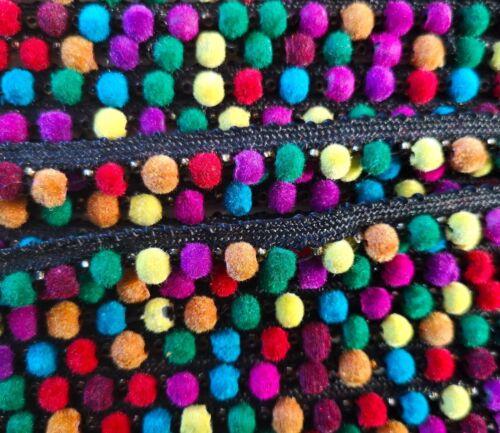 1 metros Arco Iris Multicolor Pom Pom Bobble flecos de Encaje Ajuste De Calidad Artesanía cinta