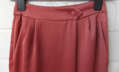 Womens Ladies New Terracotta Wrap Pleated /'Satin Like/' Midi Pencil Skirt UK 6-18