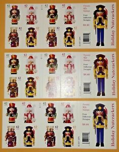 3 Booklets x 20 = 60 Of HOLIDAY NUTCRACKER 42¢ US Christmas Stamps Sc# 4360-4363