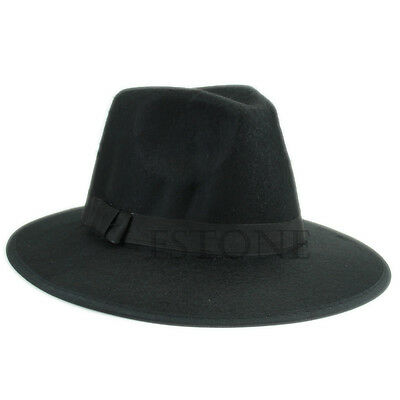 Retro Women Men Felt Felt Wool Bowler Floppy Wide Brim Cloche Cowboy Fedora Hat