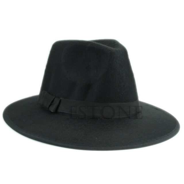 Fashion Unisex Vintage Soft Blower Jazz Wool Felt Hats Fedora Trilby Derby Cap