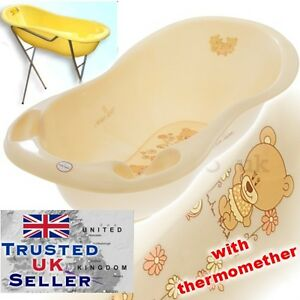 large baby bath baby tub 102 cm with thermometer stand brand teddy beige pearl ebay. Black Bedroom Furniture Sets. Home Design Ideas