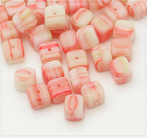 20x checa abalorios joyas bricolaje beads DIY dados 6mm rojo//blanco cz066