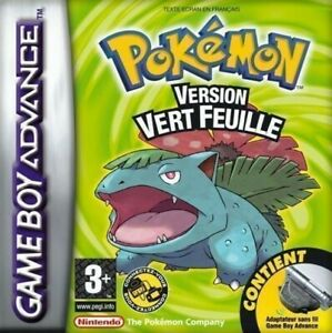 Nintendo-GameBoy-Advance-Pokemon-feuille-Verte-Edition-vert-Millefeuille-FRA-Module