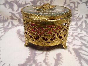 Vintage-Gold-Filigree-Glass-Jewelry-Casket-Trinket-Box-Rose-hinged
