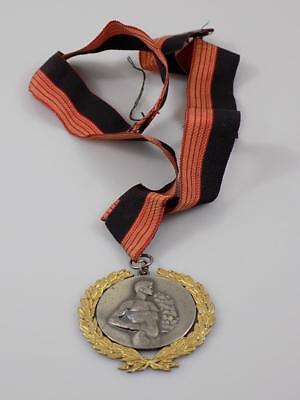 Art Deco Sieger Medaille Stabhochsprung Lorbeerkranz Kranz 950er Silber 20.jhd