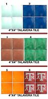 4 Mexican Talavera Tiles 4x4 Washed Yellow Terracotta Blue Gren Atm Clay