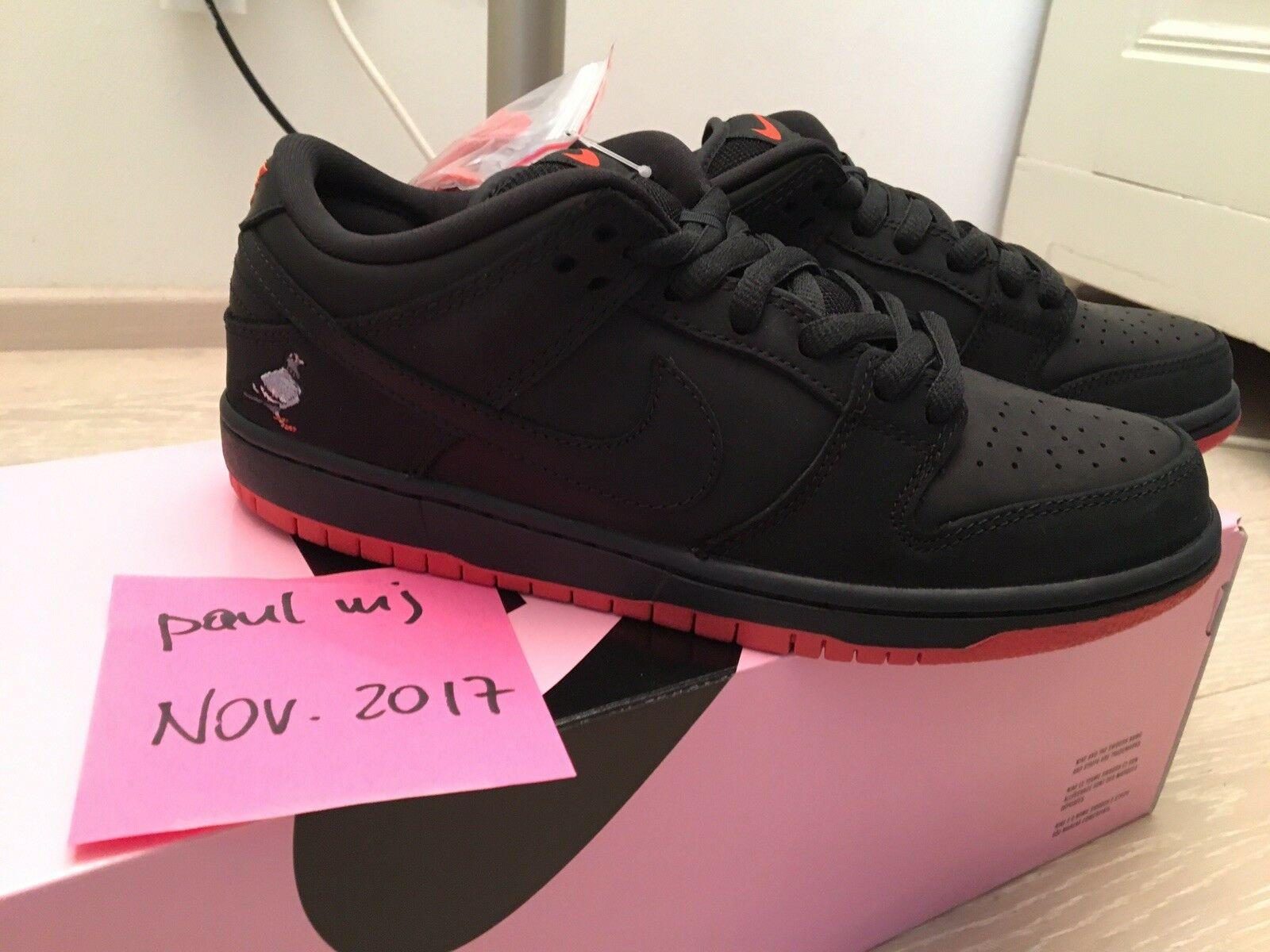 NIKE SB Dunk Low Pigeon Jeff Staple 6.5 pro black red bred trd og authentic