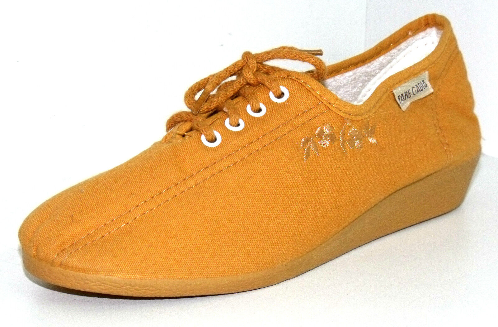 CHAUSSONS BASKETS COMPENSEES 35 A LACETS ocre toile jaune ocre LACETS BAYONA PARE GABIA NEUF e75e93