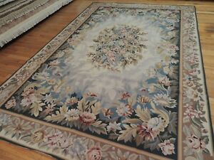 Details About 6x9 French Aubusson Design Needlepoint Area Rug Wool Blue Gray Teal Beige