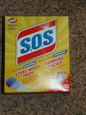 6 Boxes Total//60 Pads Total S.O.S Steel Wool Soap Pads,10 Count Box