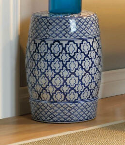 Moroccan Tile Print Blue White Ceramic Outdoor Stool End