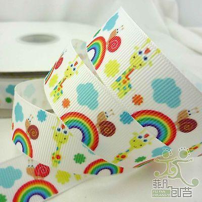 "7/8""(22mm) White Colorful Rainbow Ladybug Cartoon Grosgrain Ribbon Craft 1 Yard"