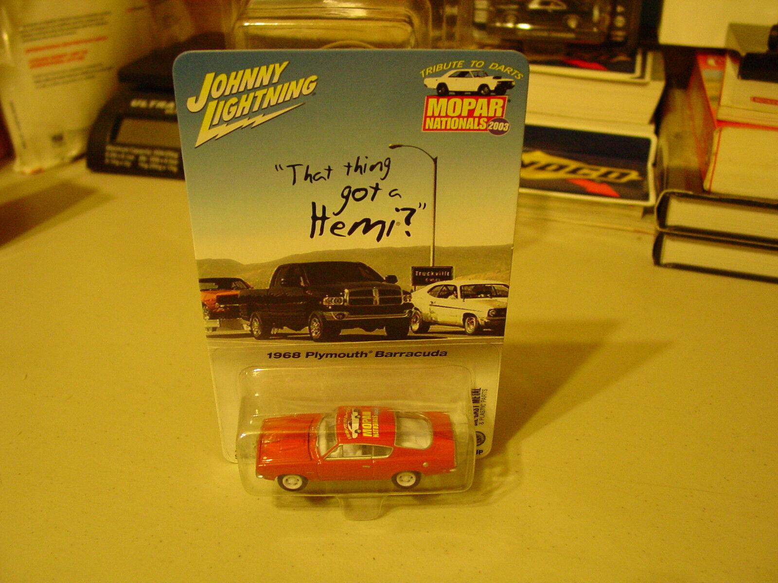 2003 Johnny Lightning blanc Lightning MOPAR ressortissants 1968 Plymouth Barracuda