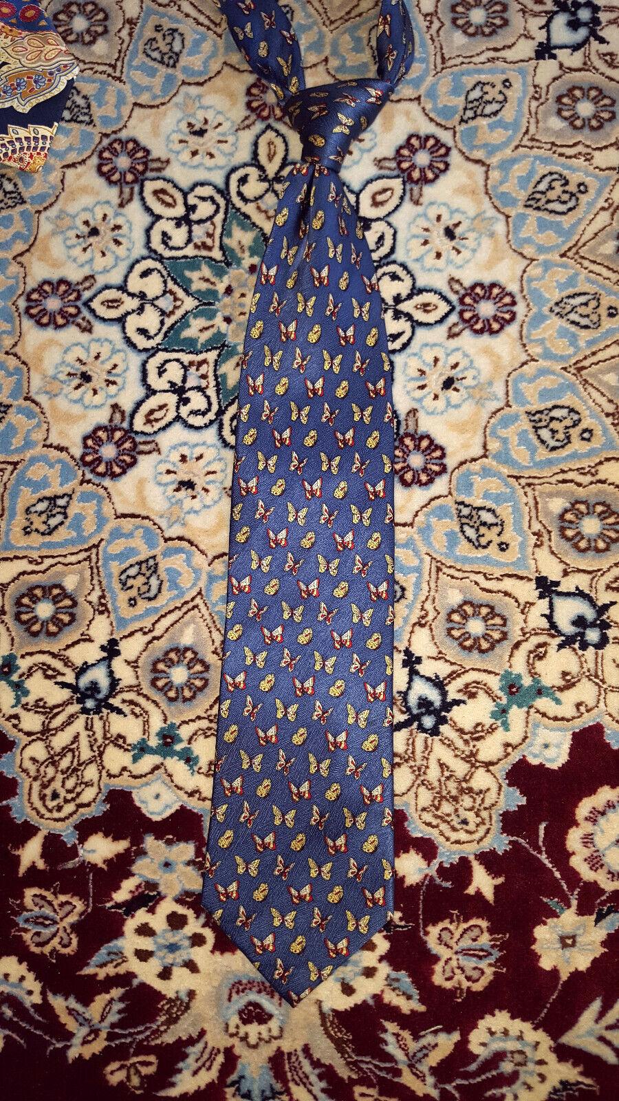 Mens Tie, Tom Harrison, s Modern, blue, with Butterflies, MINT