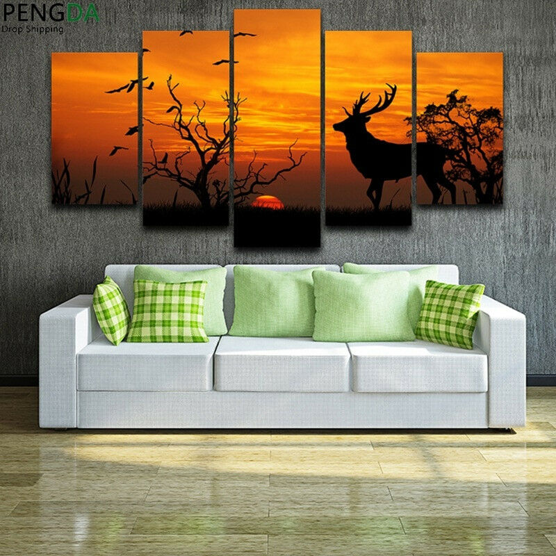 Silhouette Deer Dead Tree Birds At Sunset 5 Panel Canvas Print Wall Art Poster