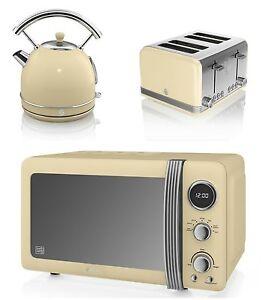 NUEVO-Swan-Cocina-Retro-Juego-Crema-microondas-1-7l-Pava-Con-Cupula-amp