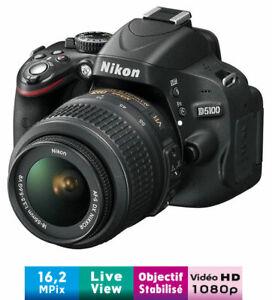 Reflex Nikon D5100 + Obj. Nikon AF-S DX VR 18 - 55 mm f/3.5-5.6 G avec carte SD