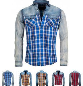 Young-amp-Rich-Herren-Hemd-Jeans-Hemd-Karomuster-Freizeit-Hemd-Langarm-6118