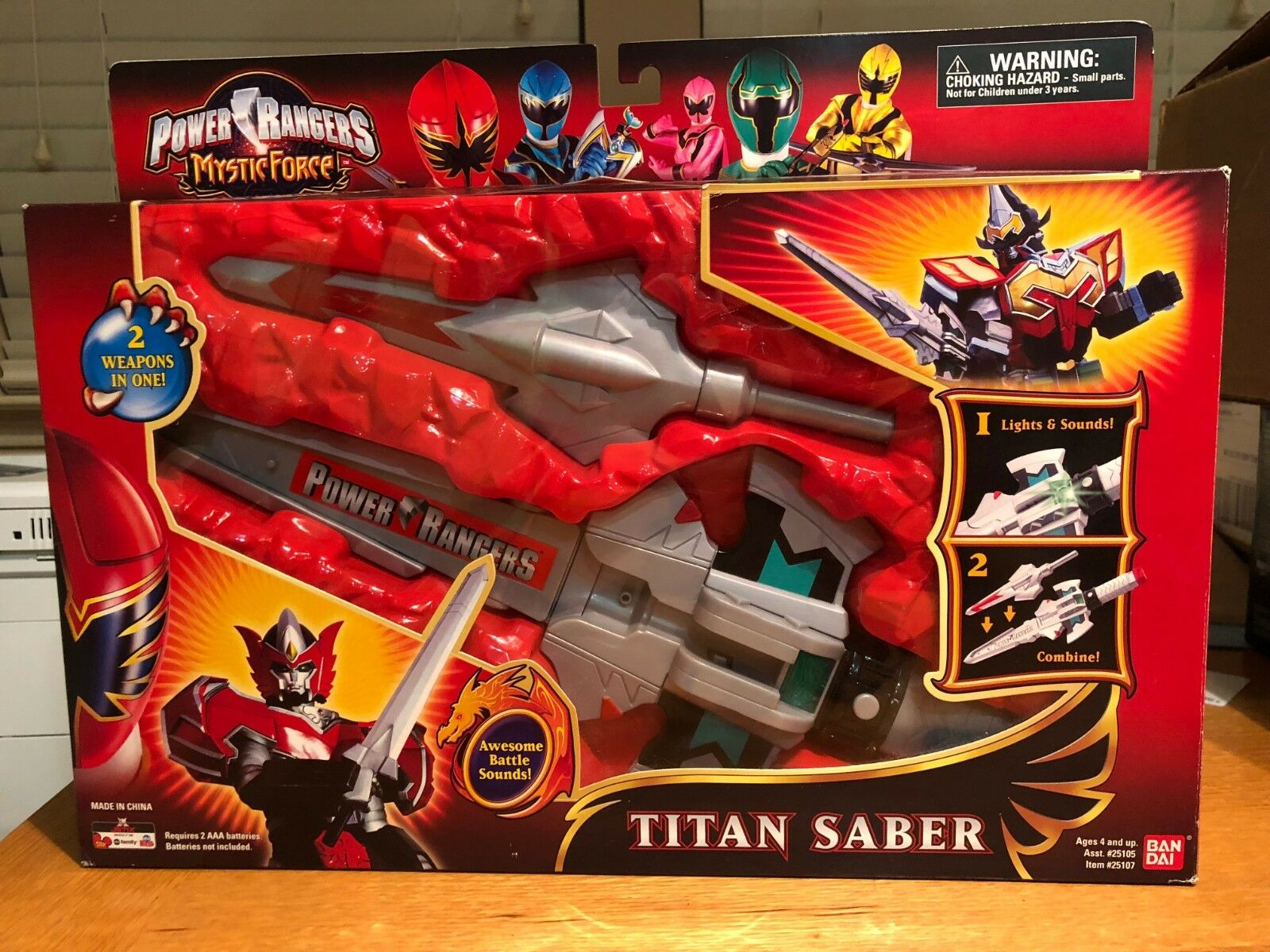 POWER RANGERS MYSTIC FORCE TITAN SABER WEAPON SWORD Complete in Box