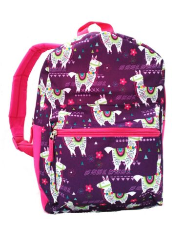 "15/"" Kids Llama Print Backpack Pre School Toddler Book Bag Tote Preschool"