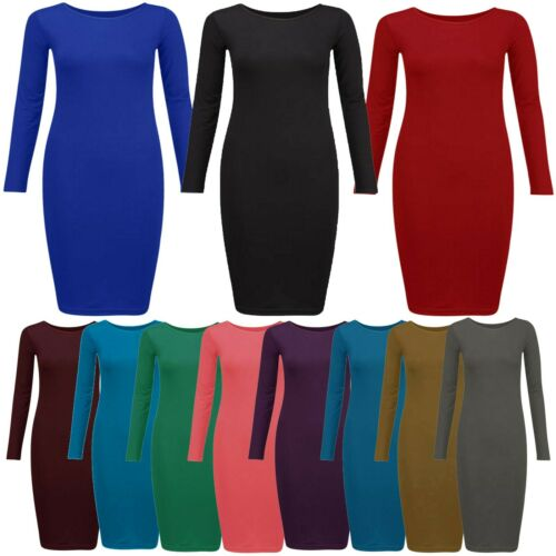 New Womens Long Sleeve Bodycon Midi Dress 16-26