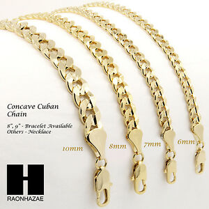 "To Have Both The Quality Of Tenacity And Hardness Rapture 14k Gold Plated Concave Cuban Necklace Chain 8""/9""/24""/30""/36"" W/ 6-10mm"