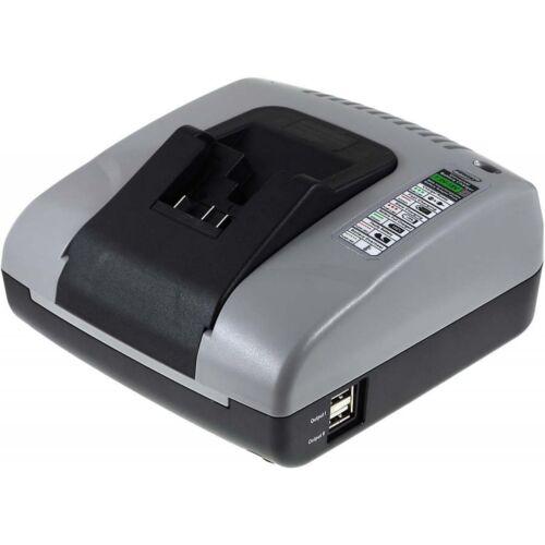 Powery Akku-Ladegerät mit USB für Dewalt Typ  XR-Akku DCB 201 10,8V-20V   Grau