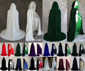 Hooded Velvet Cloaks In Silk Wedding Capes Halloween Pagan Witch Stock Size S-6X