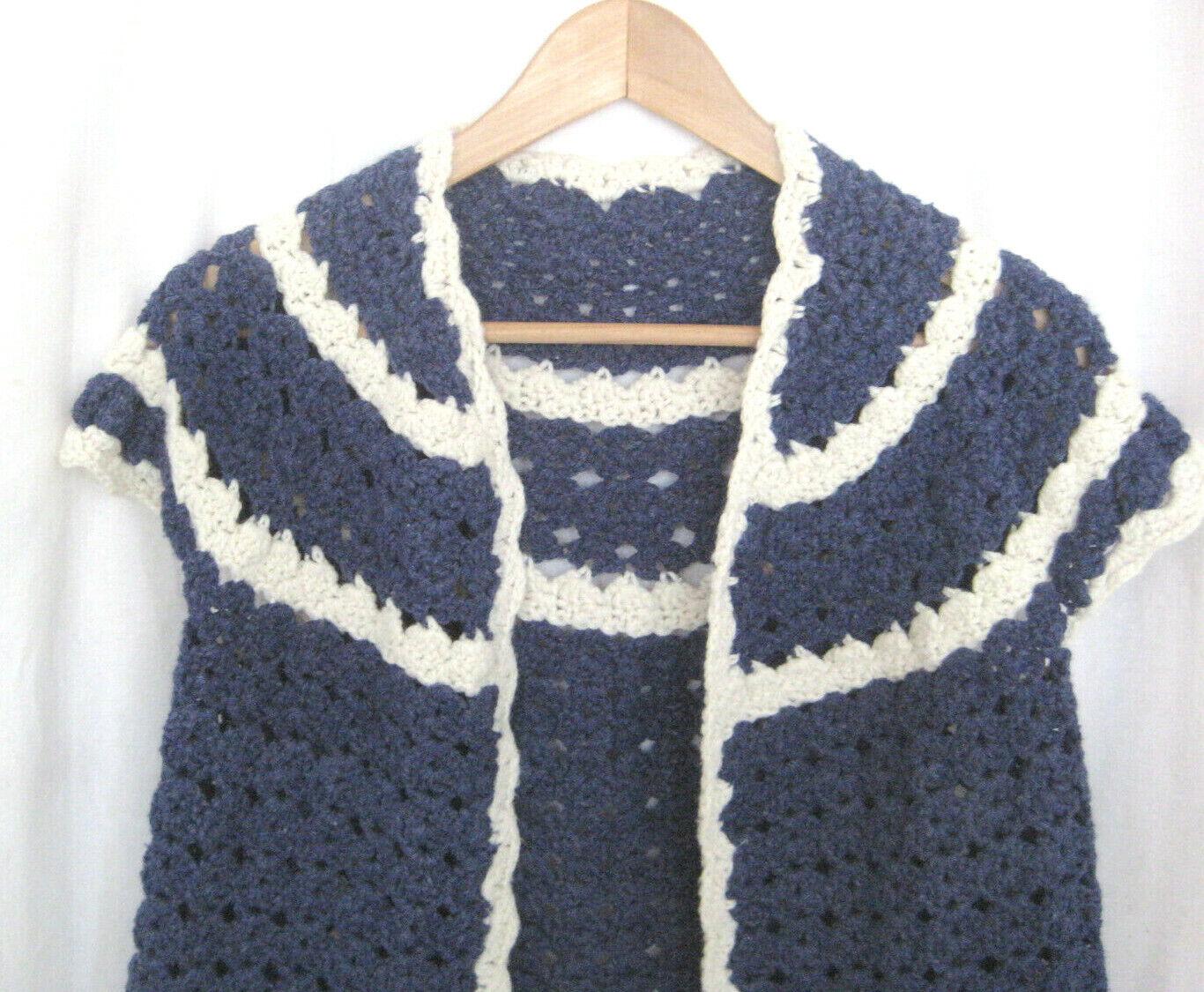 Vintage Women Hand Knit Crochet Short Sleeve Open… - image 3