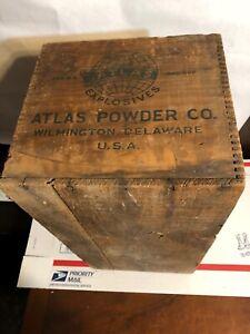 Vintage-Atlas-Powder-Co-Explosives-Blasting-Caps-Wooden-Box-Mining-Advertising
