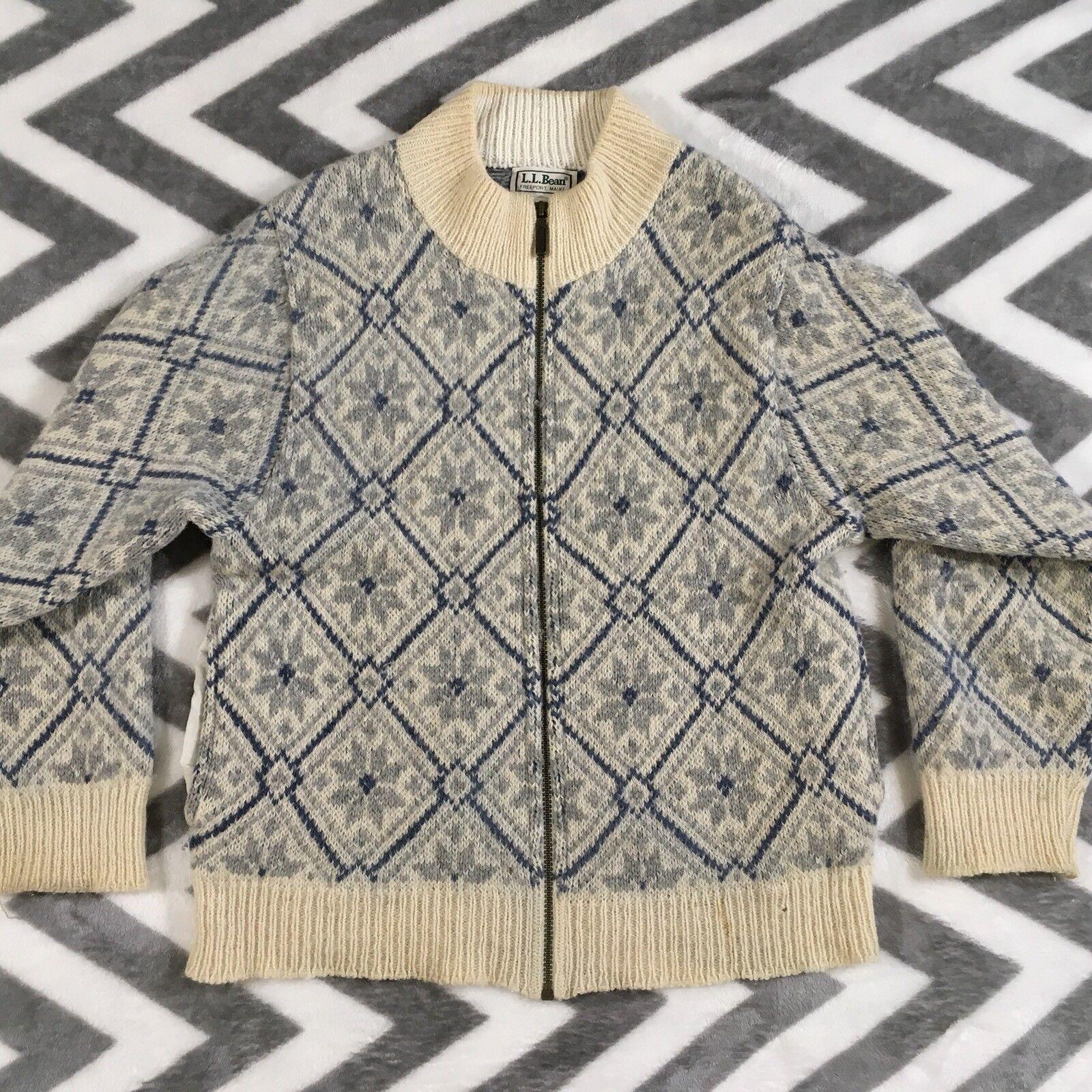 LL Bean Womens Large L Vtg Knit Wool Alpaca Full Zip Sweater bluee Cream