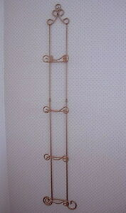 Gold Wrought Iron Metal 4 Plate Vertical Wall Rack For