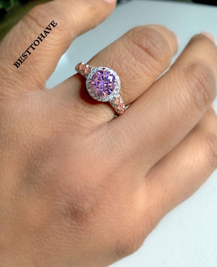 Ladies 925 Silver With Created Pink Sapphire Wedding Engagement Ring UK Seller