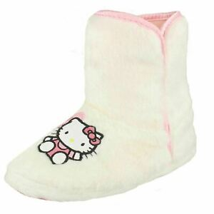 acdee4d52ca Filles Hello Kitty Blanc à Enfiler Fausse Fourrure Chaussons ...